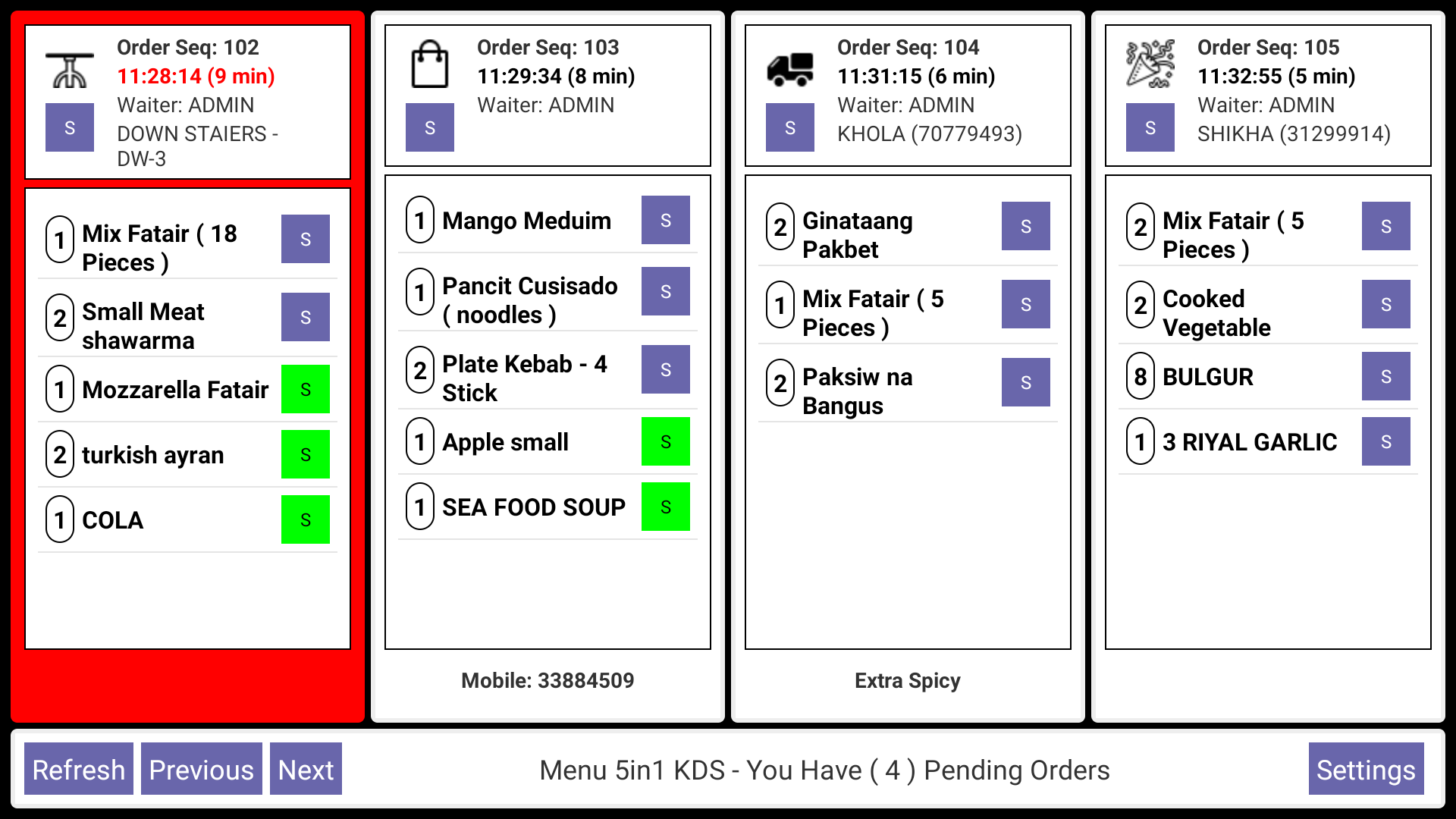 Cham Solutions & Programs - Menu 5in1 Kitchen Data System KDS