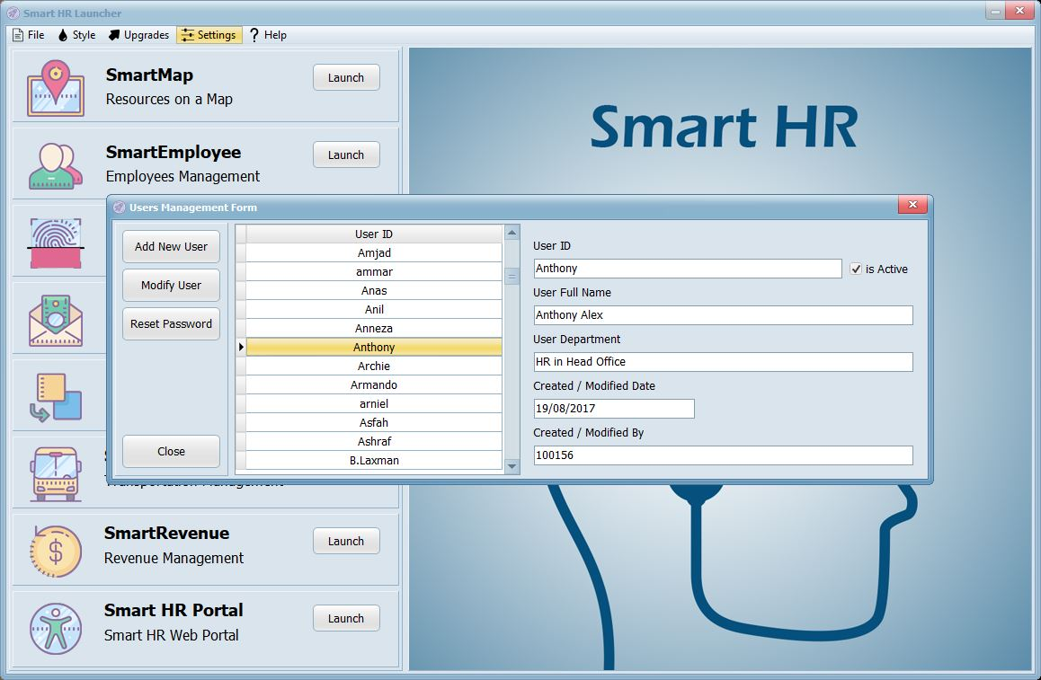 Smart HR System - Users Management